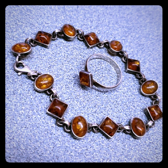 unknown Jewelry - Vintage Sterling Silver Amber Bracelet & Ring Set